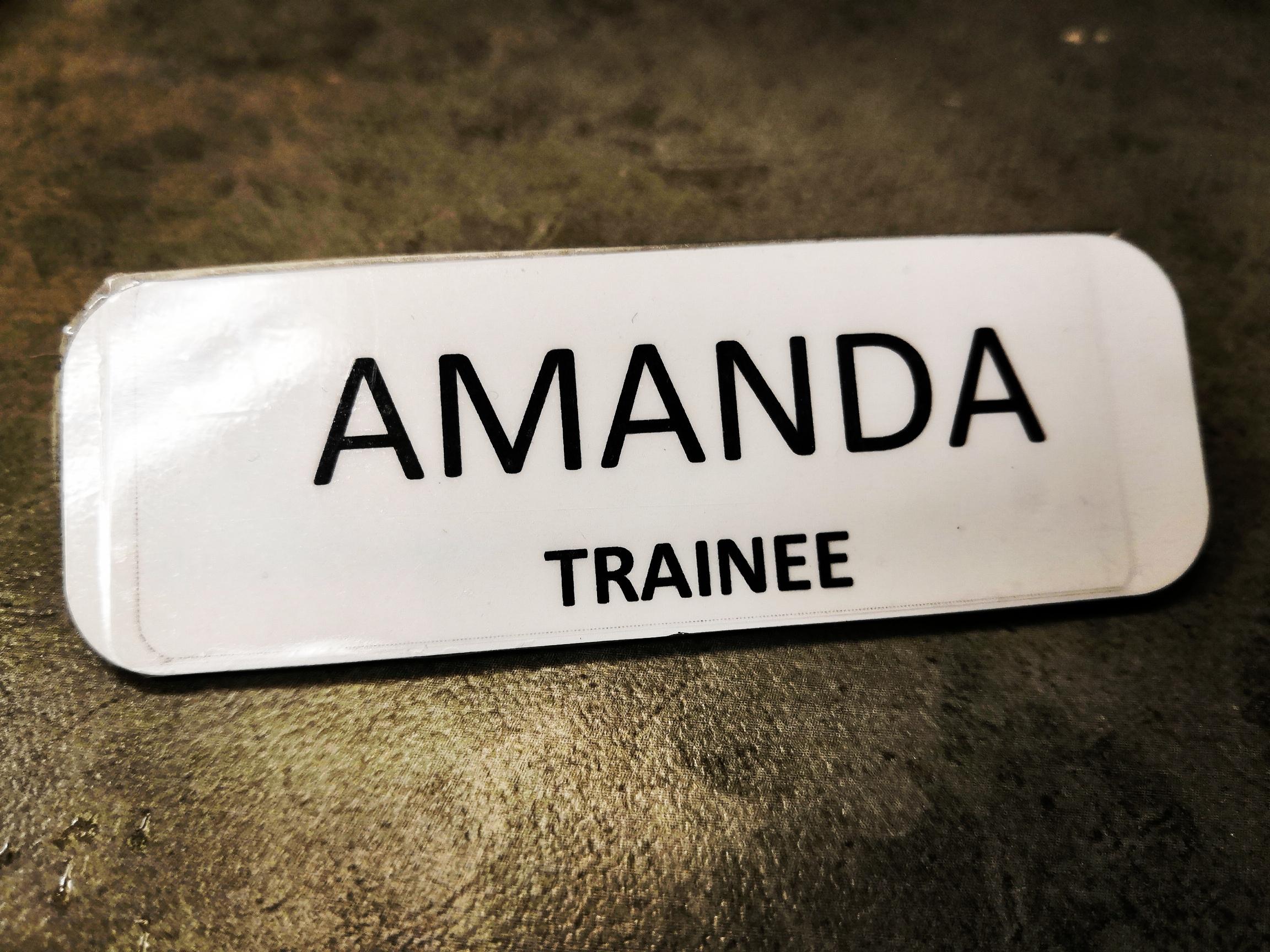 My name tag at my new job in Calgary!