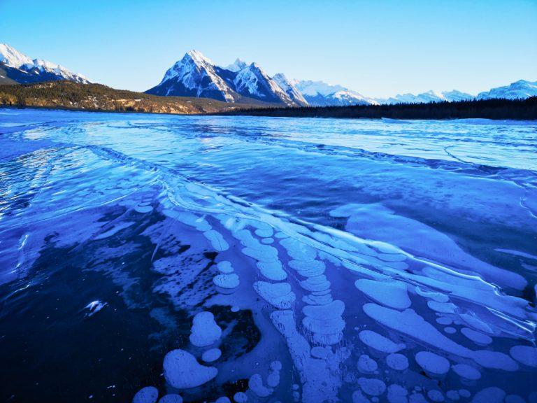 Explore the magical Ice Bubble Lake in Alberta