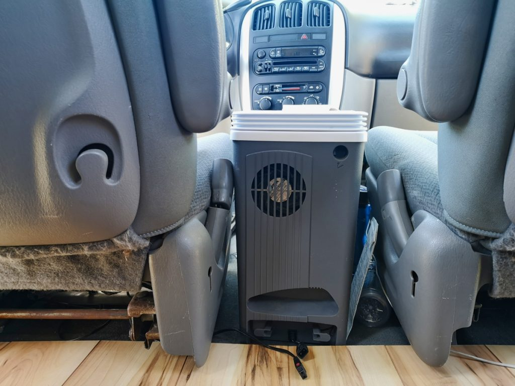 Cooler in campervan