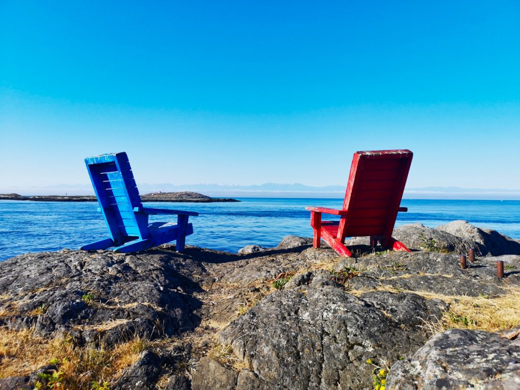 Blue and red chairs in Victoria