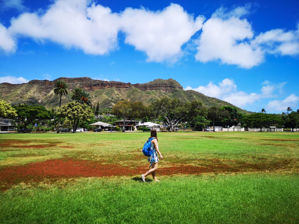 Admiring Diamond Head, Honolulu, while backpacking Hawaii.